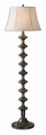 Uttermost 28630 Antonello Solid Wood Turning 63 Inch Tall Lighting Floor Lamp - Distressed Charcoal Gray