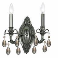 Crystorama 5562-PW-GT-MWP Dawson Golden Teak Crystal Pewter Finish Candle Wall Sconce