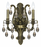 Crystorama 5563-AB-GT-MWP Dawson 16 Inch Tall 2 Candle Sconce Lighting - Golden Teak Crystal