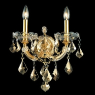 Elegant 2800W2G-GT-RC Maria Theresa Golden Teak Crystal Candlestick Sconce with Gold Finish