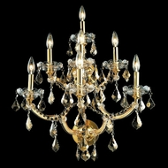 Elegant 2800W7G-GT-RC Maria Theresa Candelabra Golden Teak Crystal Wall Lighting with Gold Finish