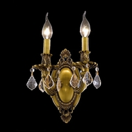Elegant 9202W9FG-RC Rosalia Vintage French Gold Clear Crystal Candle Sconce