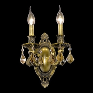 Elegant 9202W9AB-GT-RC Rosalia Golden Teak Crystal 2 Candle Antique Bronze Wall Lamp
