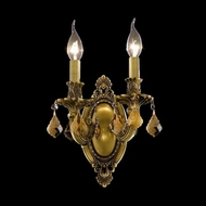 Elegant 9202W9FG-GT-RC Rosalia 2 Light Golden Teak Crystal Candle Wall Sconce with French Gold Finish