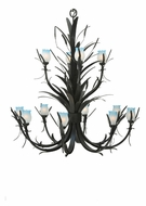 Meyda Tiffany 110280 Flowering Wheat Blue And White 52 Inch Diameter Wrought Iron Chandelier Light