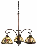 Meyda Tiffany 106291 Pinecone Dome 3 Lamp Mahogany Bronze Finish 28 Inch Diameter Lighting Chandelier