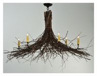 Meyda Tiffany 132514 Twigs 6 Candle 35 Inch Diameter Rustic Chandelier Light Fixture - Mahogany Bronze