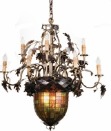 Meyda Tiffany Acorn and Oak Leaves 28.5 inches wide 9 Bulb Chandelier