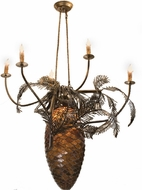 Meyda Tiffany 12363 Pinecones 29.5 inches wide 5 Light Rustic Chandelier