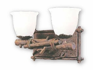 Troy B8732HK Cheyenne Frosted Ice Piastra Hand-Worked Iron with Leather Accent Dual Rustic Bathroom Lighting Fixture