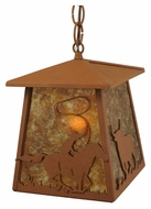 Meyda Tiffany 114537 Cowboy & Steer Rust Finish 13 Inch Tall Hanging Pendant Light