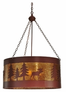 Meyda Tiffany 110656 Moose On The Loose 32 Inch Diameter 4 Lamp Ceiling Pendant Light