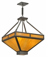Meyda Tiffany 110845 Square 25 Inch Diameter Timeless Bronze Craftsman Pendant Light