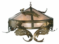 Meyda Tiffany 111957 Catch Of The Day Trout Rustic 48 Inch Diameter Pendant Lighting - Antique Copper
