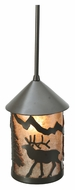 Meyda Tiffany 108464 Lone Elk 6 Inch Diameter Rustic Timeless Bronze Mini Pendant Light
