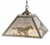Meyda Tiffany 109563 Square Wild Horses 22 Inch Diameter Antique Copper Drop Lighting