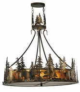 Meyda Tiffany 109695 Bear At Dusk Antique Copper Finish 24 Inch Diameter Drop Lighting With Amber Mica