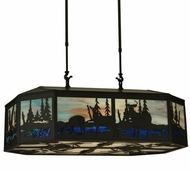 Meyda Tiffany 133373 Deer Family And Eagle 32 Inch Wide Island Pendant Light