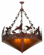 Meyda Tiffany 130708 42 Inch Diameter Rust And Amber Mica Ducks In Flight Rustic Inverted Pendant