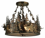 Meyda Tiffany 132697 Silver Mica Moose At Dusk Rustic Hanging Lamp
