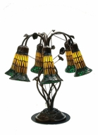 Meyda Tiffany 102415 Tiffany Pond Lily Amber/Green Shade 6 Lamp Table Lighting - Rustic