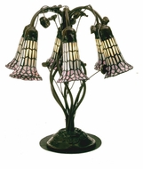 Meyda Tiffany 102416 Tiffany Pond Lily Rustic 19 Inch Tall White/Pink Shade Table Top Lamp