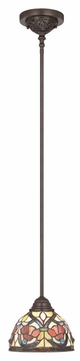 Quoizel TFLR1508VB Larissa Traditional Bronze Rod Mounted Tiffany Lamp Hanging Light
