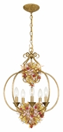 Crystorama 405-GA Fiore 5 Candle Rustic 17 Inch Diameter Antique Gold Hanging Lamp