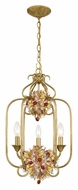 Crystorama 407-GA Fiore 3 Candle Antique Gold 24 Inch Tall Rustic Drop Ceiling Light Fixture