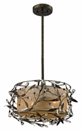ELK 18131/2 Circeo Rustic 17 Inch Diameter Rod Hanging Drum Pendant Light - Deep Rust