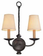 Troy B2661 Alexander 2 Lamp 17 Inch Tall Wall Light Fixture With English Iron Finish
