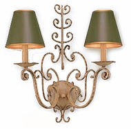 Troy B9800BW Holly Hill Green Tole Hand-wrought Iron Double Bulb Rustic Sconce with Biron White Finish
