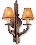 Troy B8802HK Cheyenne Faux Leather Hand-Worked Iron with Leather Accent Rustic Double Wall Sconce