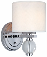 Troy B1580PC Bentley 6.5 inchesW 1 Pillar Light White and Chrome Wall Sconce Lighting Fixture