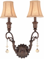 Troy F1652VB Aragon 2 Light Bronze, Crystal and Linen Bath Wall Lighting Fixture