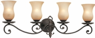Troy B1304FI Portobello 4 Light Amber and French Iron Vanity Wall Lighting Fixture