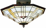 Meyda Tiffany 28284 Arrowhead Mission 2 Bulb Flush Mount Inverted Parasol Ceiling Light