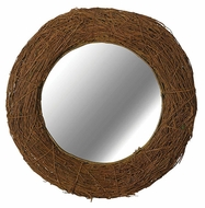 Kenroy Home 60204 Harvest Rusticy Style 32 Inch Diameter Round Natural Rattan Mirror