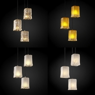 Justice Design GLA886426 Veneto Luce Modern Multi Mini Pendant Light Fixture with Rippled Rim Square Glass Shades
