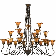 Quoizel PLFF5021MT Paloma 21 Light Wrought Iron Chandelier with Fine Feather Art Glass