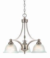 Quoizel DY5103ES Delray Empire Silver 3 Light Downlight Chandelier with Faux Etched Alabaster Glass