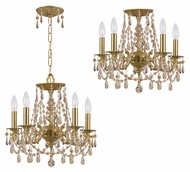 Crystorama 5545-AG-GT-MWP Mirabella Convertible Golden Teak Crystal Aged Brass Ceiling & Pendant Lighting