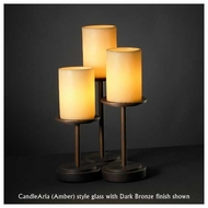 Justice Design 8797-10 Dakota 3-Light Table Lamp with Flat Rim Glass