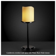 Justice Design 879914 Dakota 1-Light Tall Table Lamp with Melted Rim Cylinder Glass