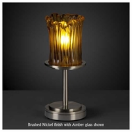 Justice Design GLA879816 Dakota 1-Light Short Table Lamp with Rippled Rim Cylinder Glass