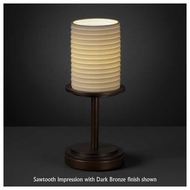 Justice Design POR879810 Dakota 1-Light Short Table Lamp with Porcelain Glass