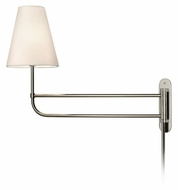 Sonneman 1961.35OL Bistro 25 Inch Extending Polished Nickel Swing Arm Long Bedside Lamp - Off-White Linen Shade