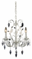ELK 12018/3 Crystal Leaf 3 Candle White Finish Mini Chandelier Lighting - 12 Inch Diameter