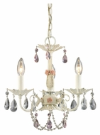 ELK 15049/3 Elise 3 Candle Antique White 16 Inch Tall Mini Chandelier Lamp
