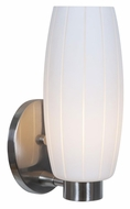 Access 23970-BS-WHT Pearl�12 Inch Tall Brushed Steel Finish White Glass Sconce